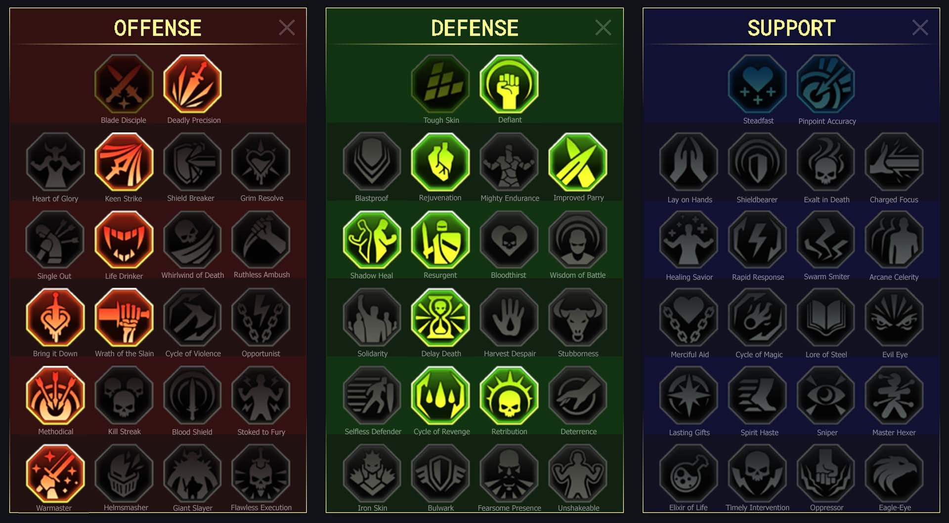 Arena, Campaign, Clan Boss, Dungeons, Faction Wars