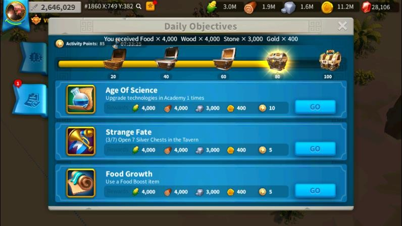 Rise of Kingdoms Daily Objectives