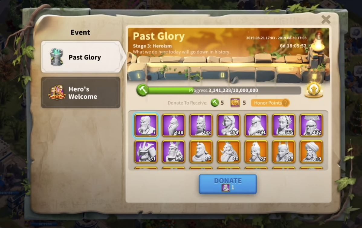past glory event Rise of Kingdoms