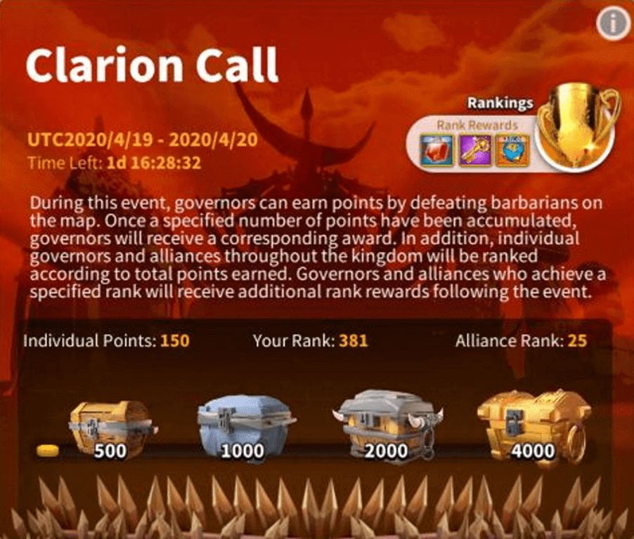clarion call event Rise of Kingdoms